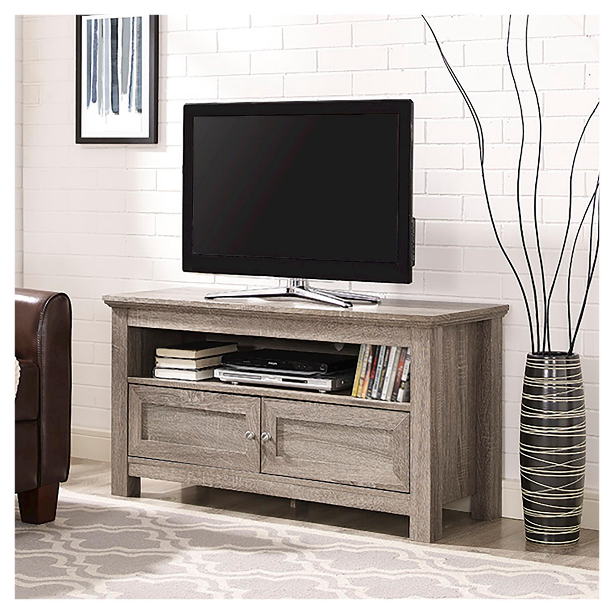 44 Wood Tv Media Stand Storage Console Driftwood Saracina Home Grey