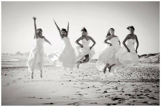 After the last friend gets married, everyone puts on their wedding gowns one last time for a photo shoot. Ha cute idea!