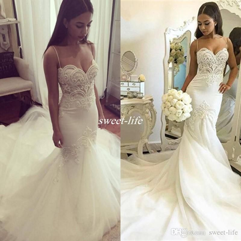 Sexy Mermaid Wedding Gowns 2017 Boho Summer Cheap White Tulle Spaghetti Straps Beaded Lace