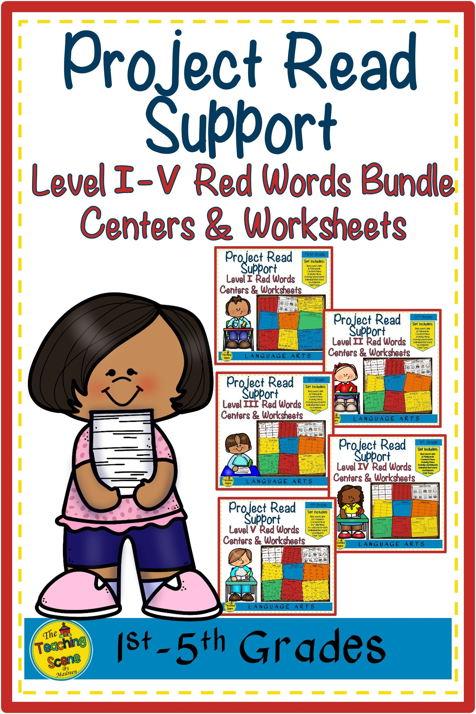 Project Read Support Red Word Levels I V Centers