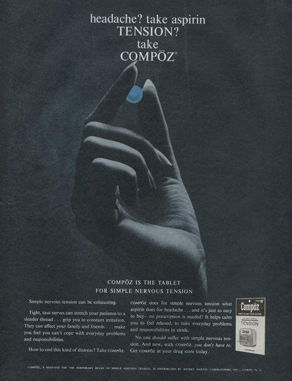 1963 Compoz Nervous Tension Medicine Sedative Ad Vintage