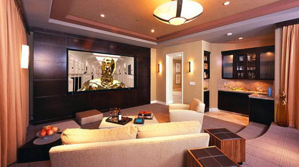 Home Theater Design Layouts | Home Theater Room Design Inspirations: Modern  Bright Home Theater .
