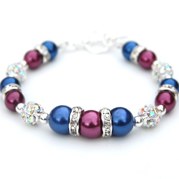 Raspberry and Sapphire Blue Pearl Rhinestone by AMIdesigns on Etsy, $24.00