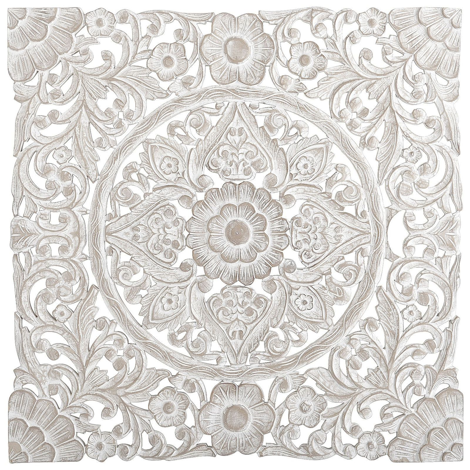 Wood Carved Wall Decor this dramatic wall panel finished in antique white is very heavy