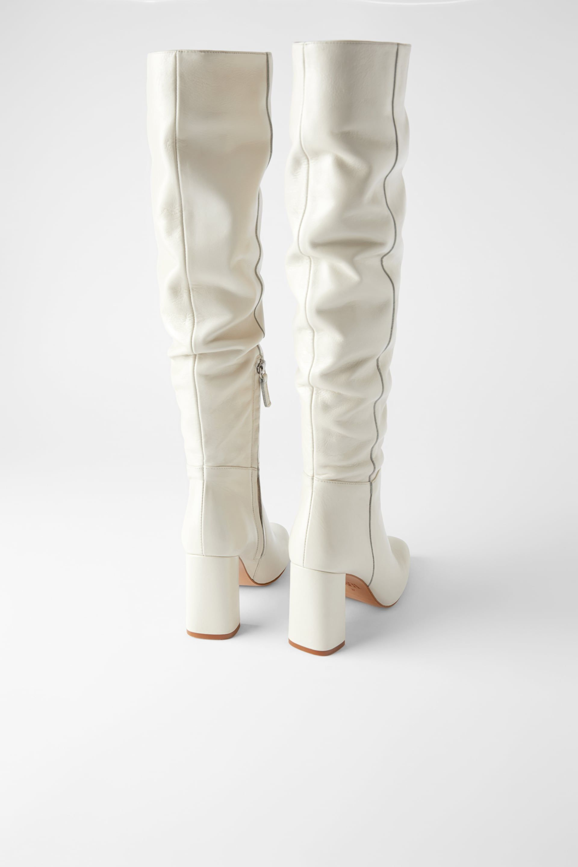 White High Heel Boots Zara In 2020 White High Heel Boots Leather Heeled Boots Boots