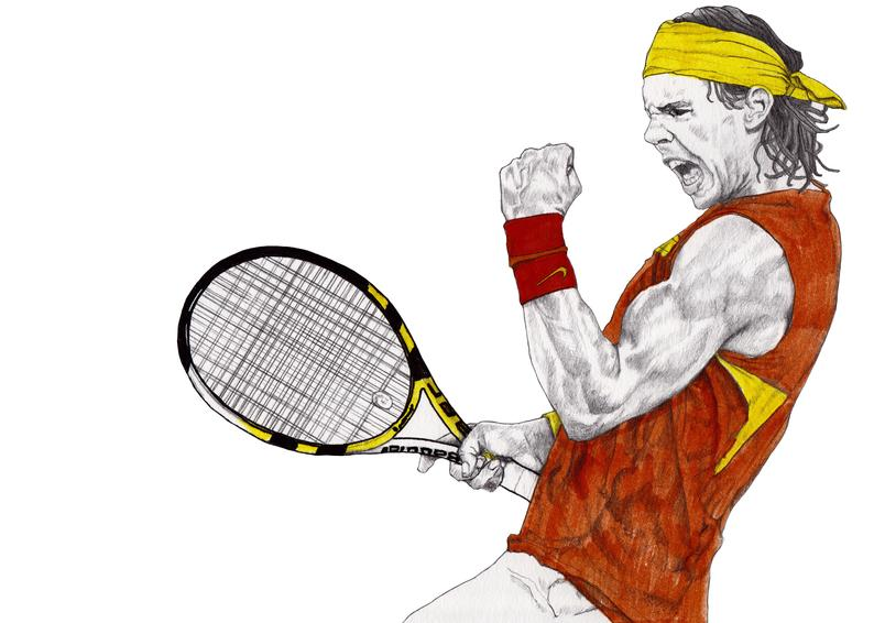 Tennis Rafael Nadal Drawing Art Illustration Fashion Portrait Mix Media Painting By Paul Nelson Esch Sport Commission Drawings Commissioned Artwork Tennis Art