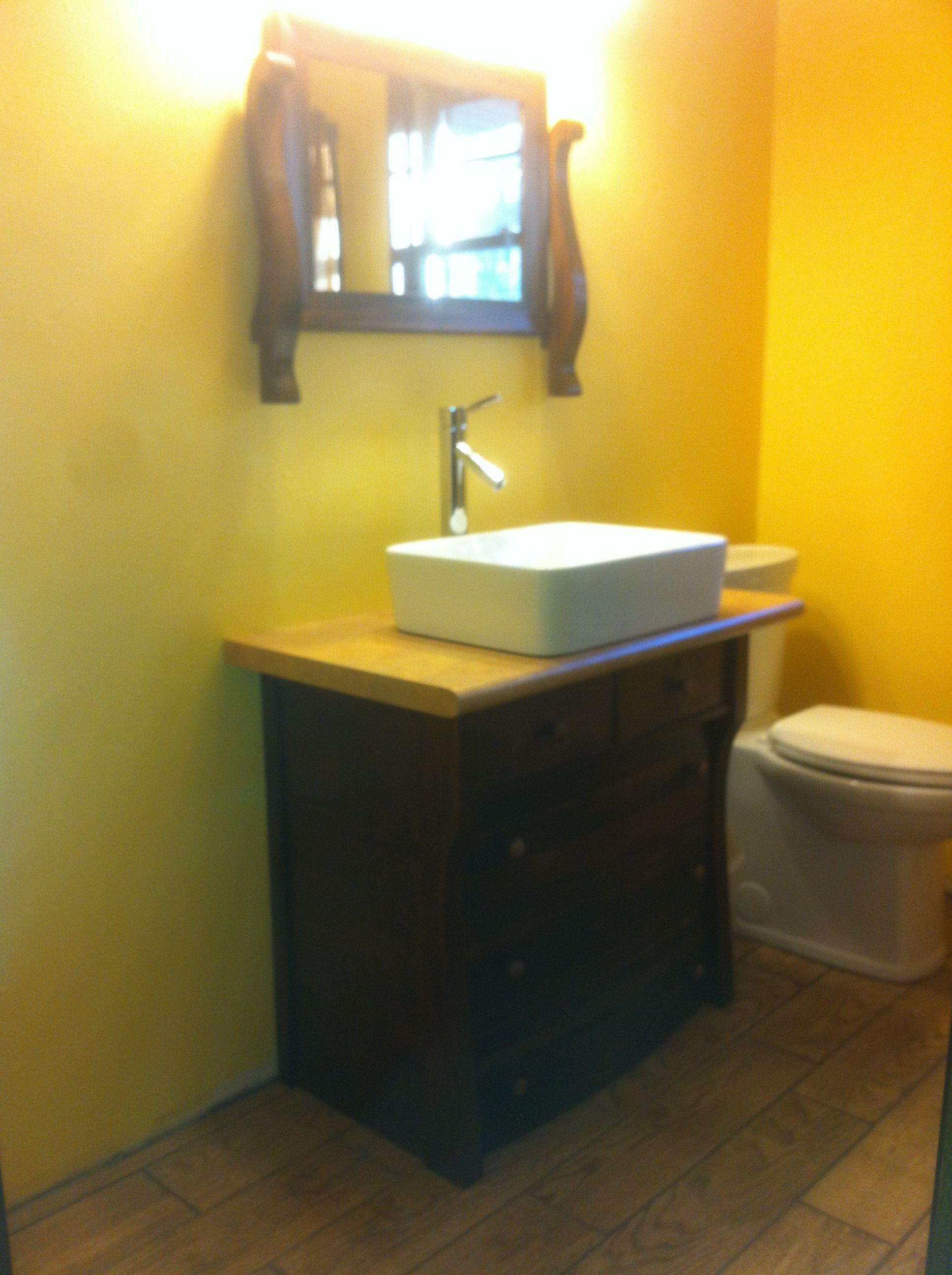 Old refurbished dresser/mirror turned bathroom vanity ...