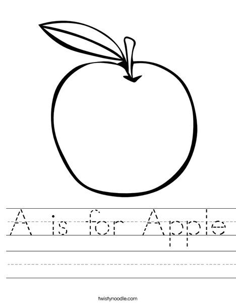 A is for Apple Worksheet from TwistyNoodle.com | Caterpillar ...