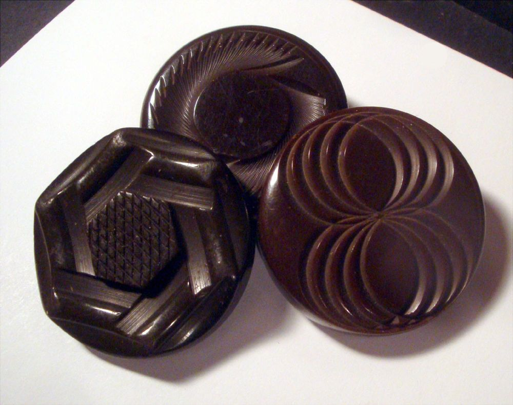 Lot 3 BAKELITE ~ Chocolate VERY THICK Carved Vintage Coat Buttons