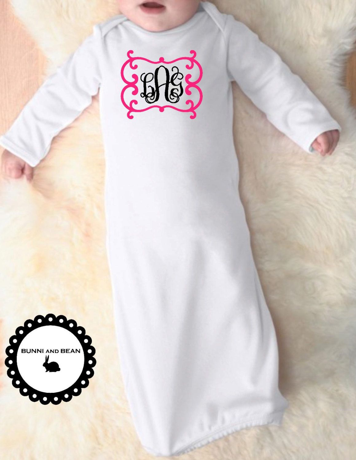 Personalized Infant Sleeper Gown, Take Home Outfit, Baby Gown ...