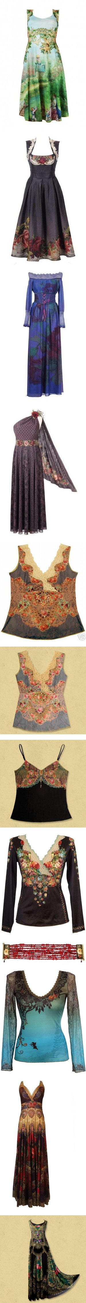 Michal Negrin 01 by ketutar on Polyvore featuring women's fashion, dresses, blue dress, waist belt, tops, lacy tops, lace shirt, lace top, victorian shirt and shirt top