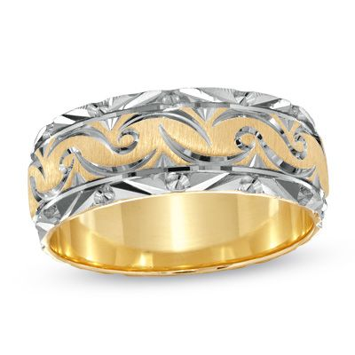 Men S 8 00mm Swirled Wedding Band In 14k Two Tone Gold People Jewellers