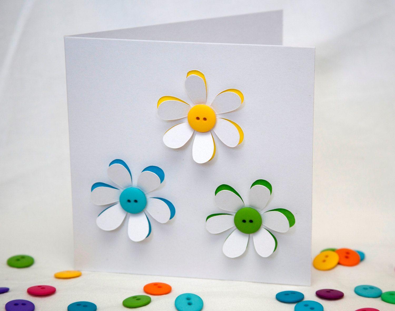 Button flowers card handmade greeting card paper cut flowers