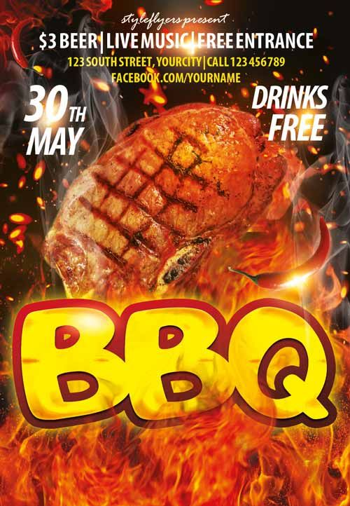 BBQ Party PSD Flyer Template - http\/\/freepsdflyer\/bbq-party - event flyer templates