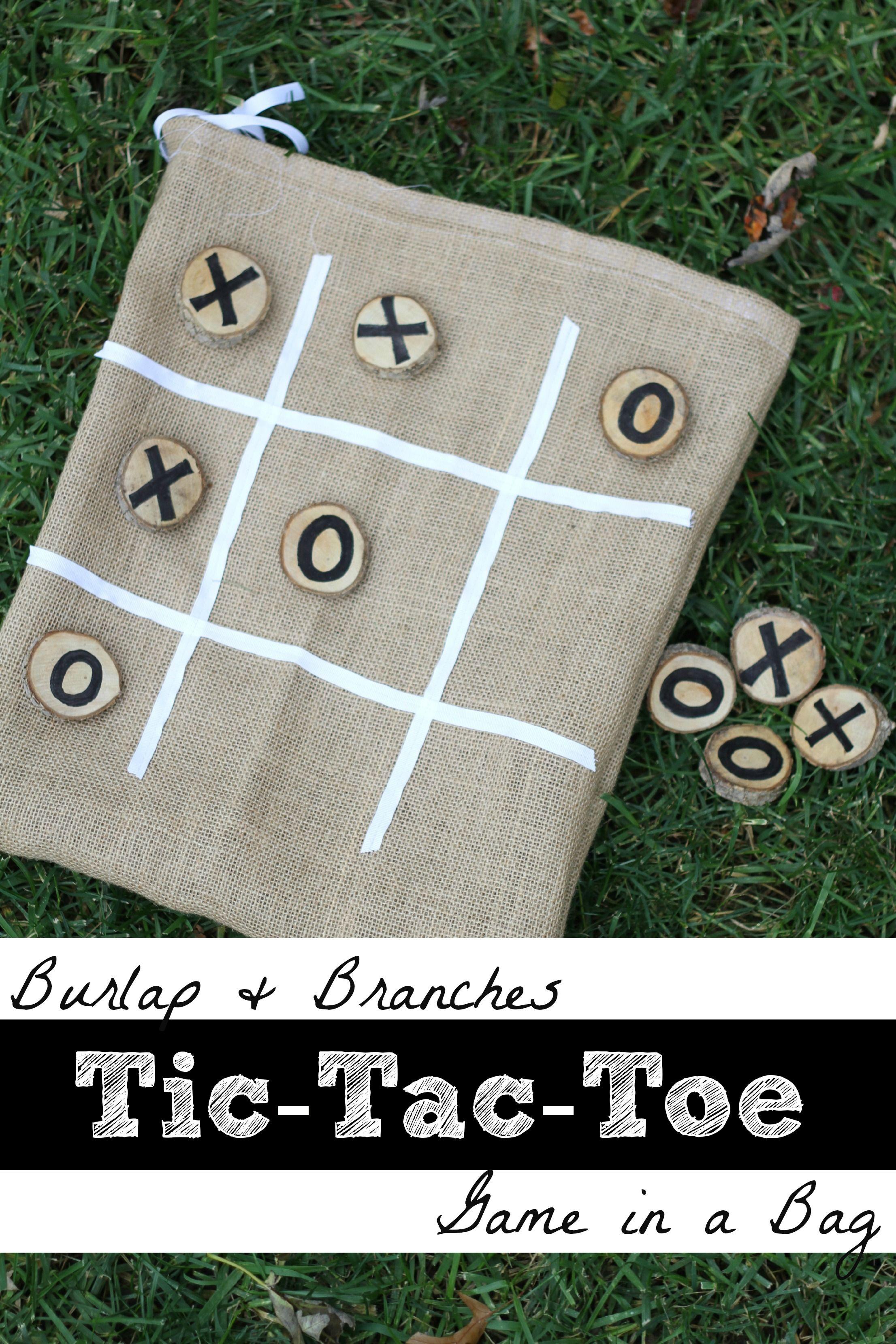 DIY::Burlap & Branches Tic-Tac-Toe Game in a Bag