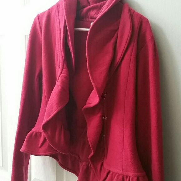 Anthropologie HWR jacket Red cranberry wool jacket, size M, with 3 hook and eye clasps that cinch at the waist.  In like new condition. Anthropologie Jackets & Coats