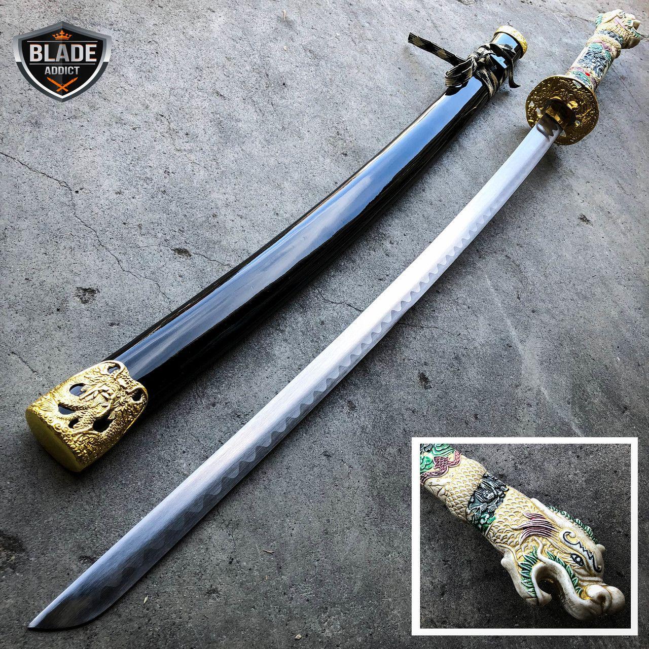 "40/"" Samurai Sword BLACK Dragon Carbon Steel w// Stand Collectible Katana Ninja"