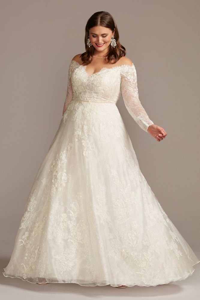 Shimmer Lace Applique Plus Size Wedding Dress Style 8CWG853, Solid White, 20W