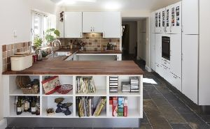 White Kitchen Units Wood Worktop large kitchen in white with oiled dark wood worktops. tall units