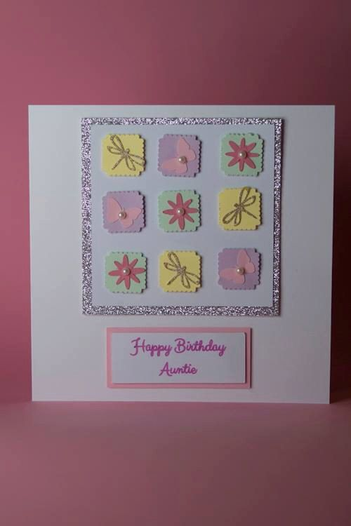 Pastel Squares Handmade Birthday Card With Flowers Dragonflies And