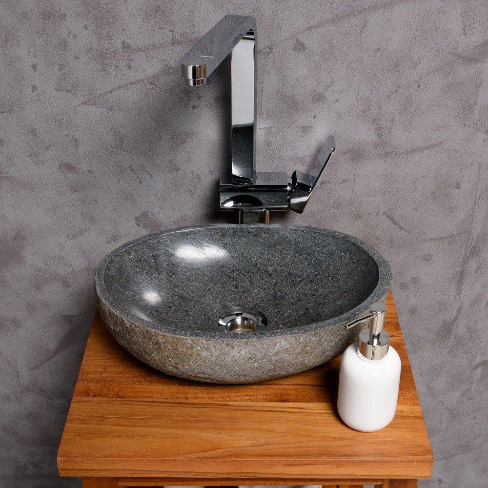 Flußstein Waschbecken Waschschale Findling Naturstein Aufsatzwaschbecken Stand