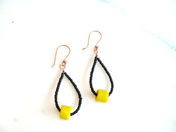 70s inspired Black and Yellow Earrings Black by BlueCopperDesigns, $12.00