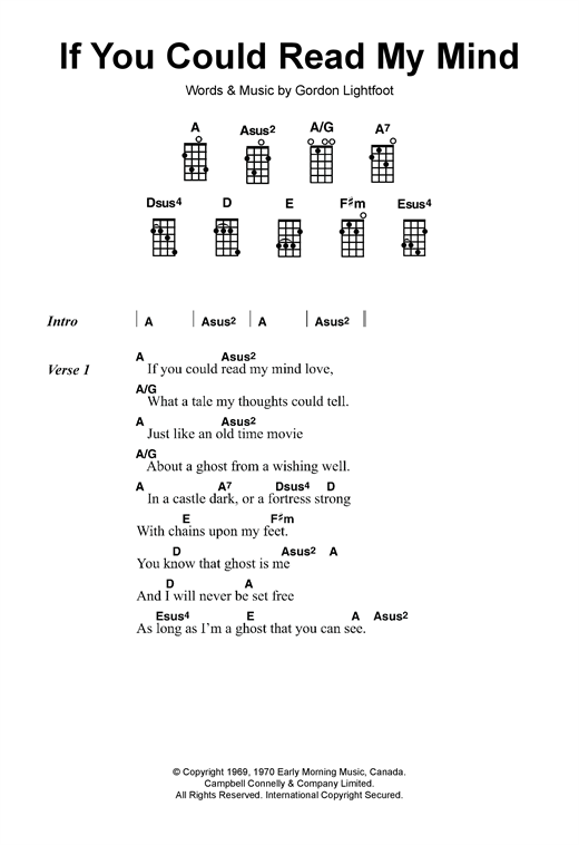 Should if you could read my mind lyrics and chords pdf