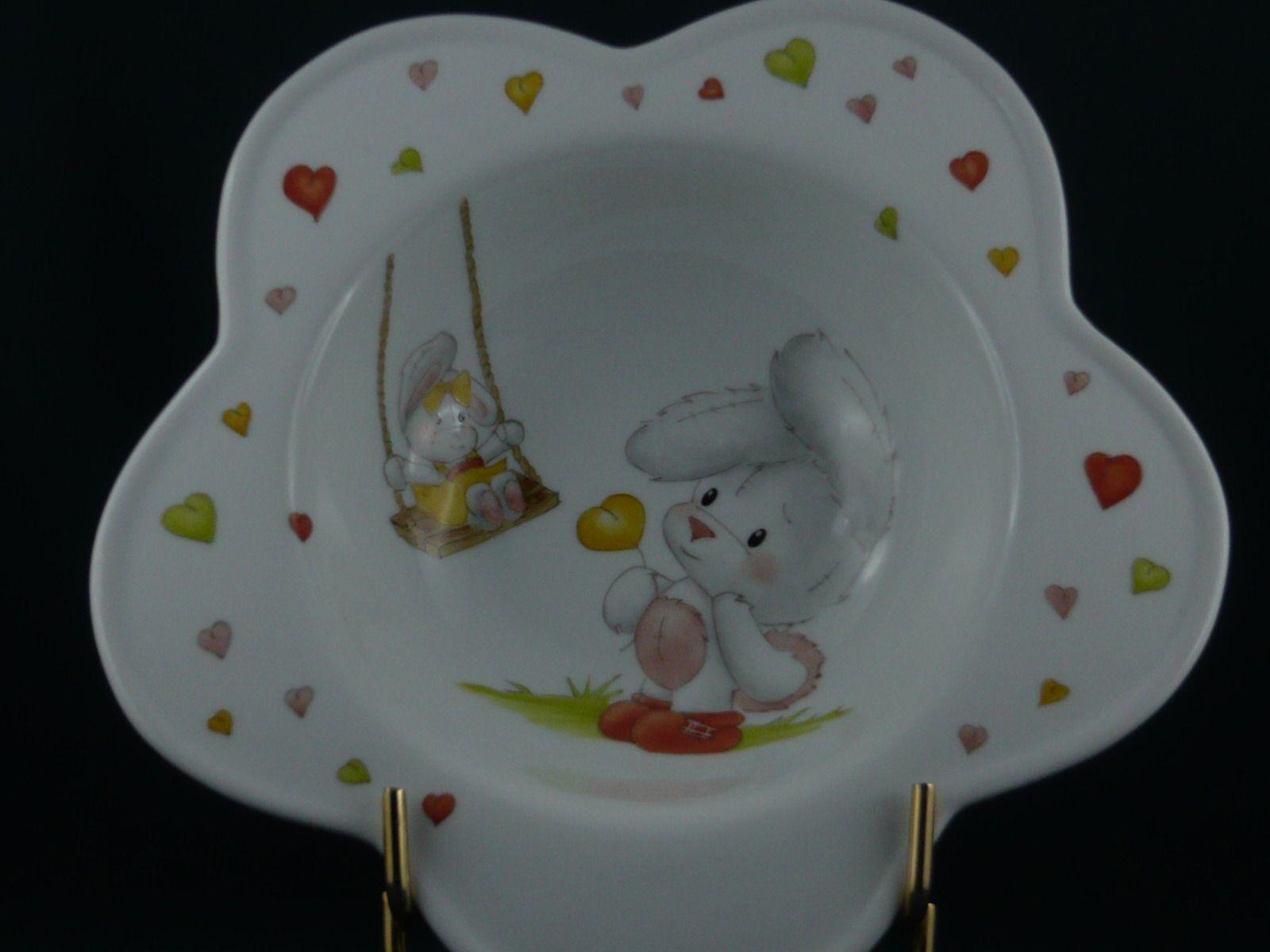 Assiette en porcelaine pour bébé, forme fleur, motif lapinou ...