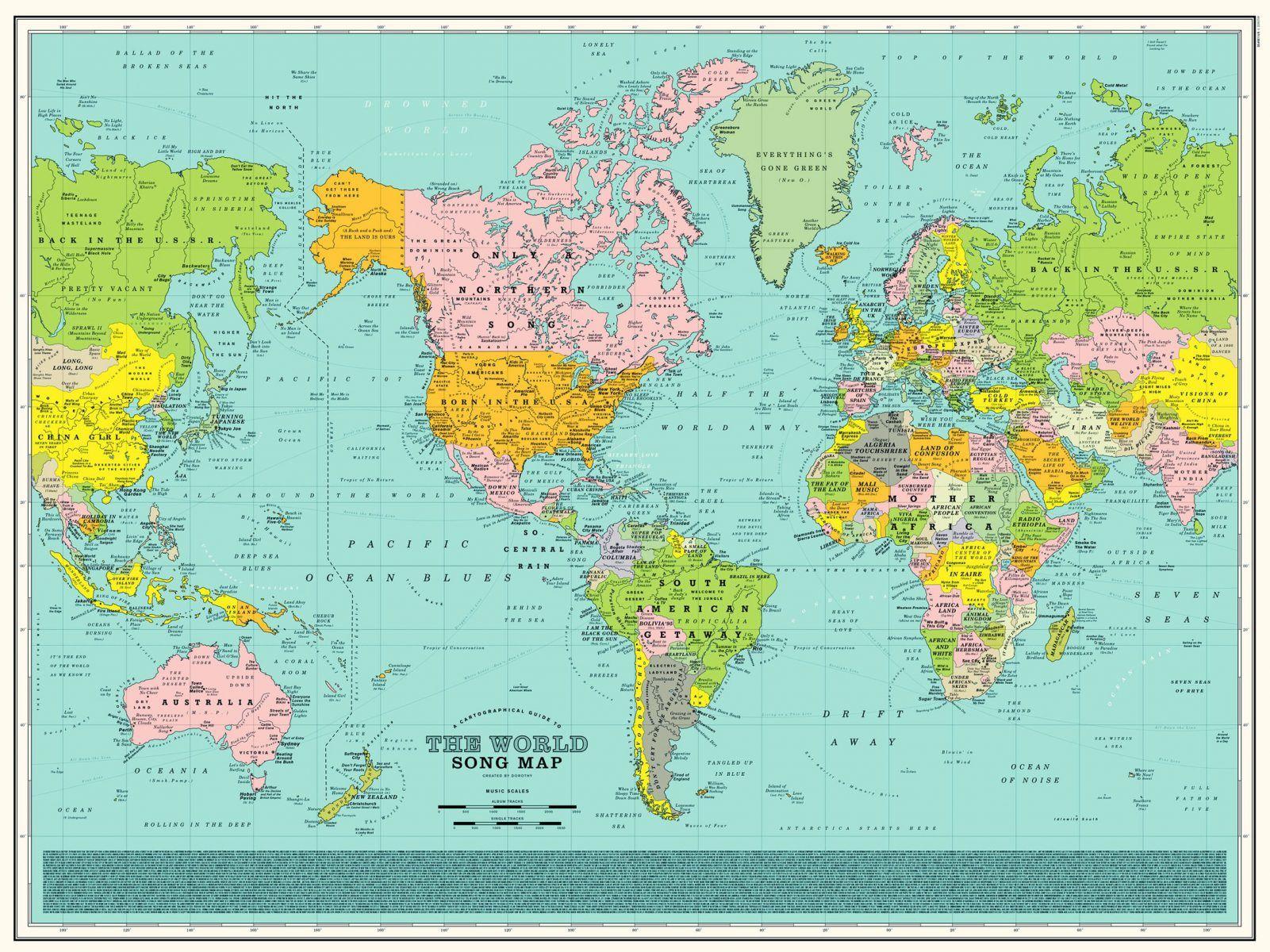 Une Carte Du Monde En Chansons Carte Du Monde Titre De Chanson