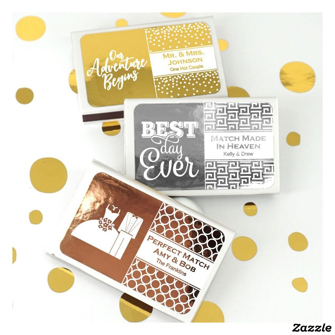 Metallic Foil Personalized Wedding Favor Matches | Personalized ...