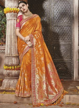 8fd4ba3d07c2e Designer Royal Look Saffron Color Silk Saree