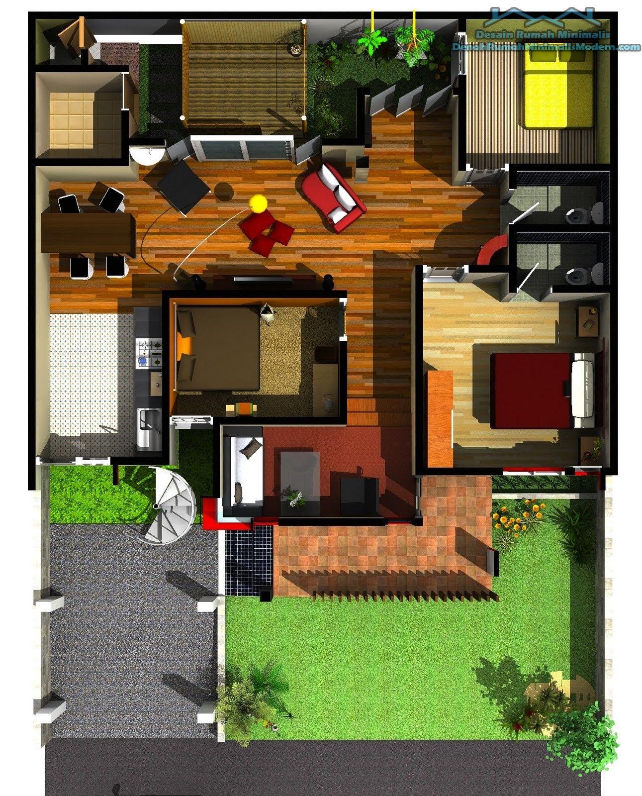 Contoh Gambar Denah Rumah Minimalis 1 Lantai Idaman Pinterest