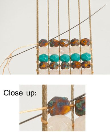Needle passing back through the first bead in the row - © Chris Franchetti Michaels