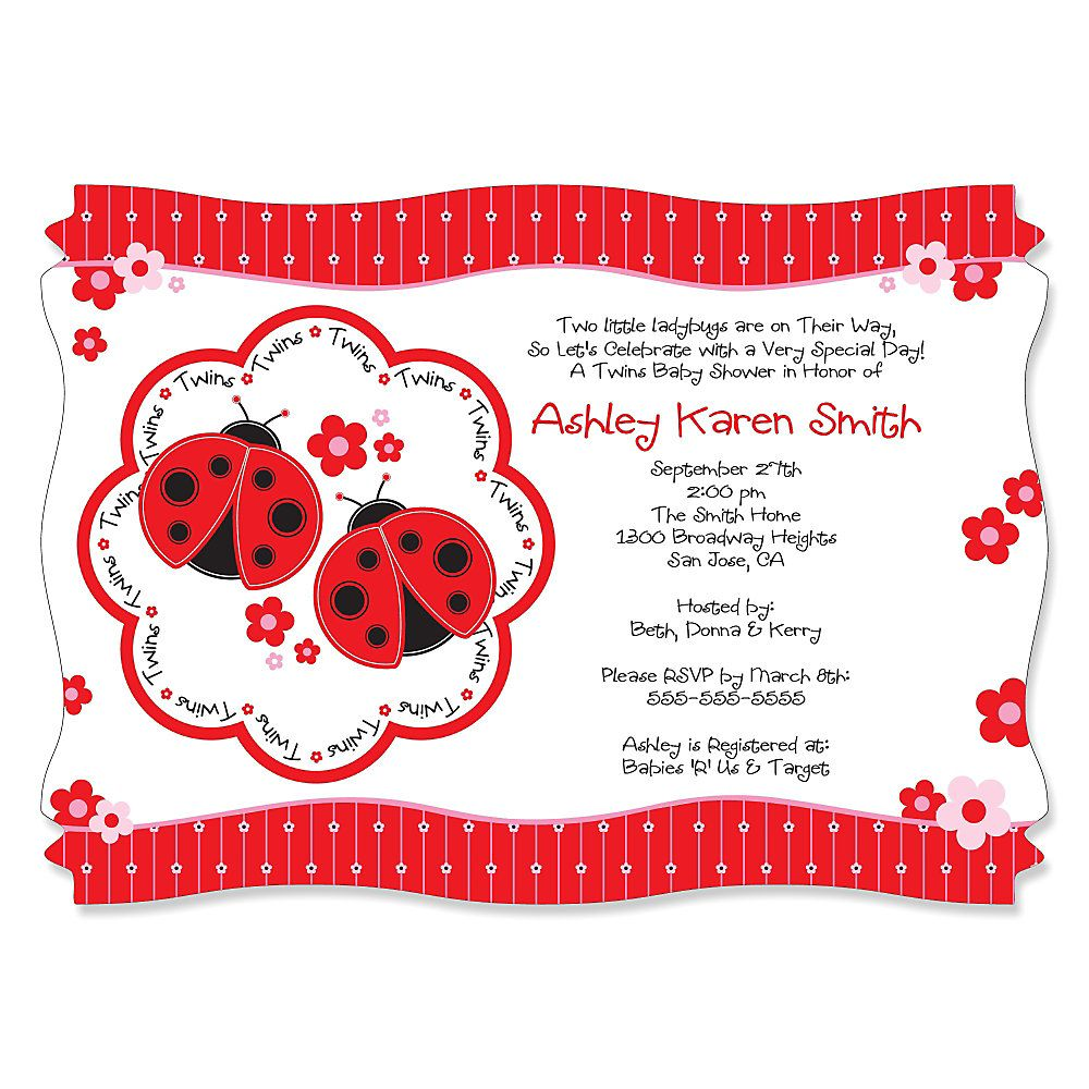 Twin Modern Ladybugs - Personalized Baby Shower Invitations ...