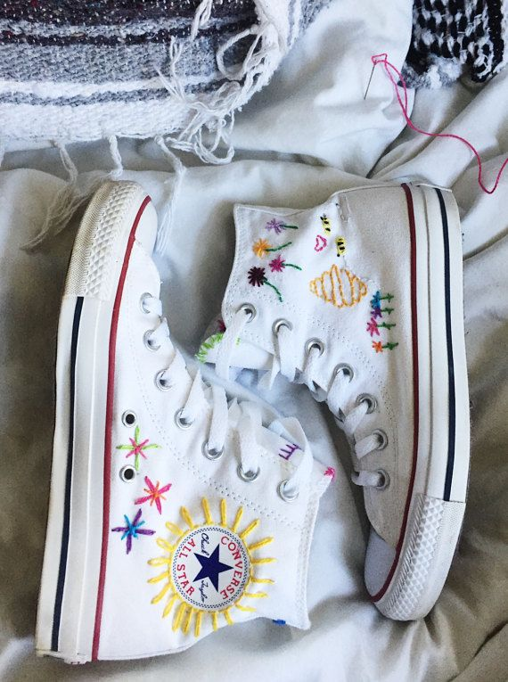 Embroidered Converse | crafts | Embellished shoes, Converse