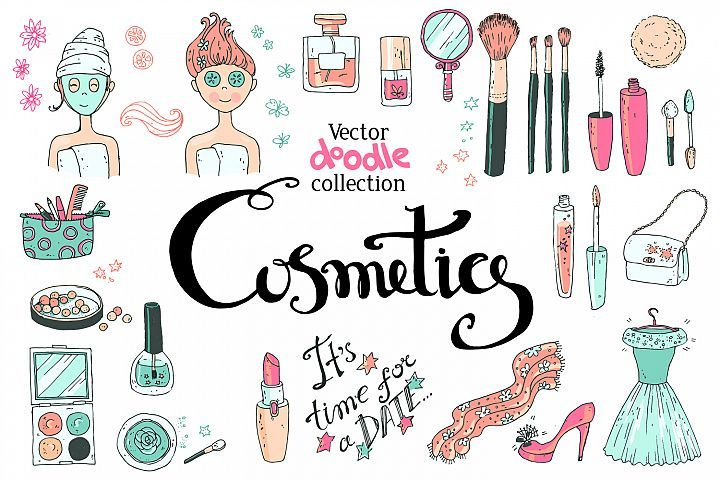 Doodle Cosmetics, Fashion, Spa And Beauty. Vector.