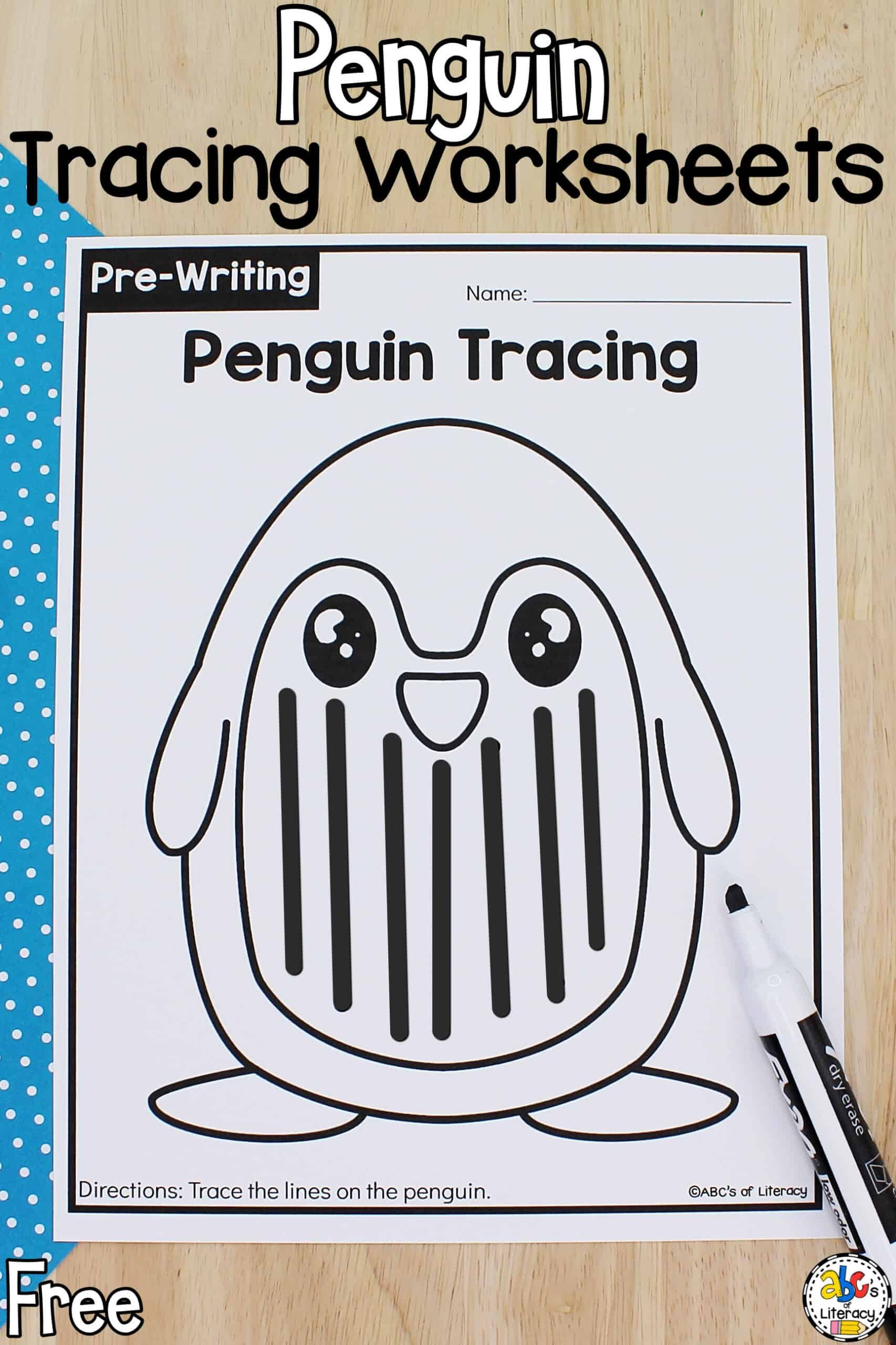 Penguin Tracing Worksheets For Preschool Pre Writing
