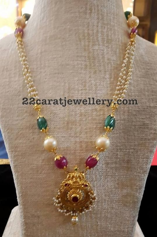 Pearls Beads Set with Lakshmi Pendant