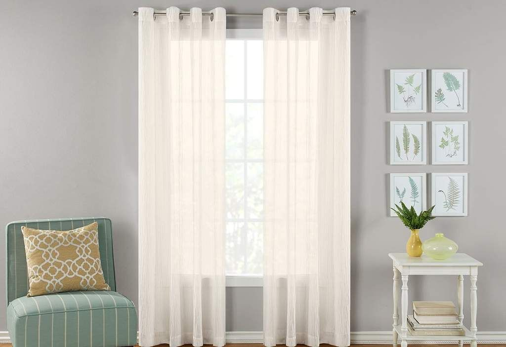 Seoul Semi Sheer Crinkle Texture Window Curtain Panel Pair White