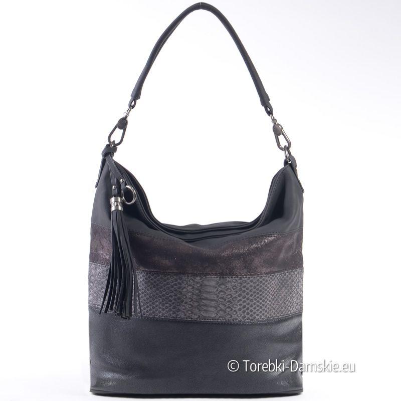 5b331d5cf3ace Efektowna czarna miejska torba  shopper worek na ramię do ręki i do  przewieszenia (w komplecie pasek długi regulowanej długości)