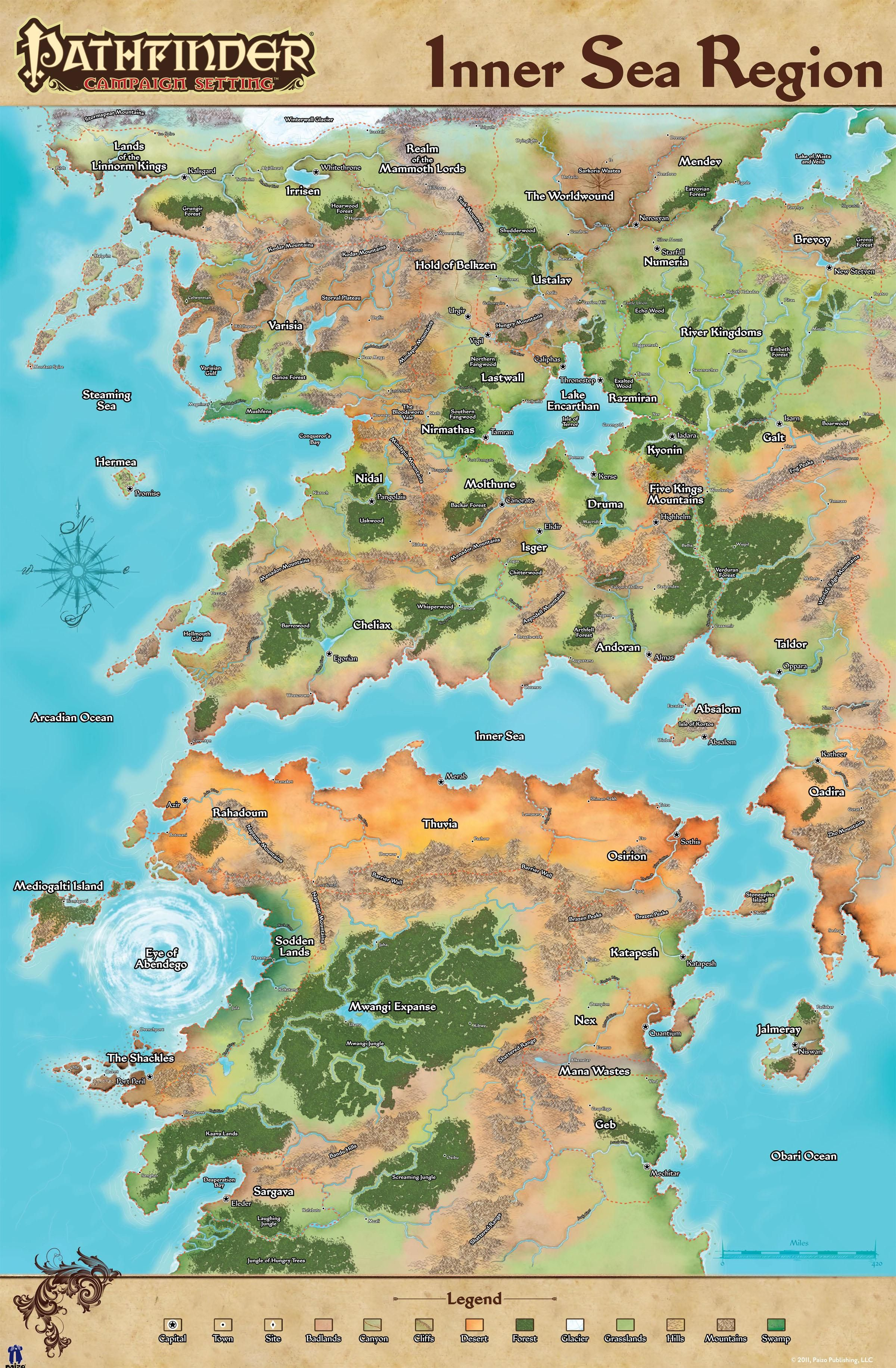 Inner Sea Map The Inner Sea Region World Of Pathfinder Imaginarymaps And Map