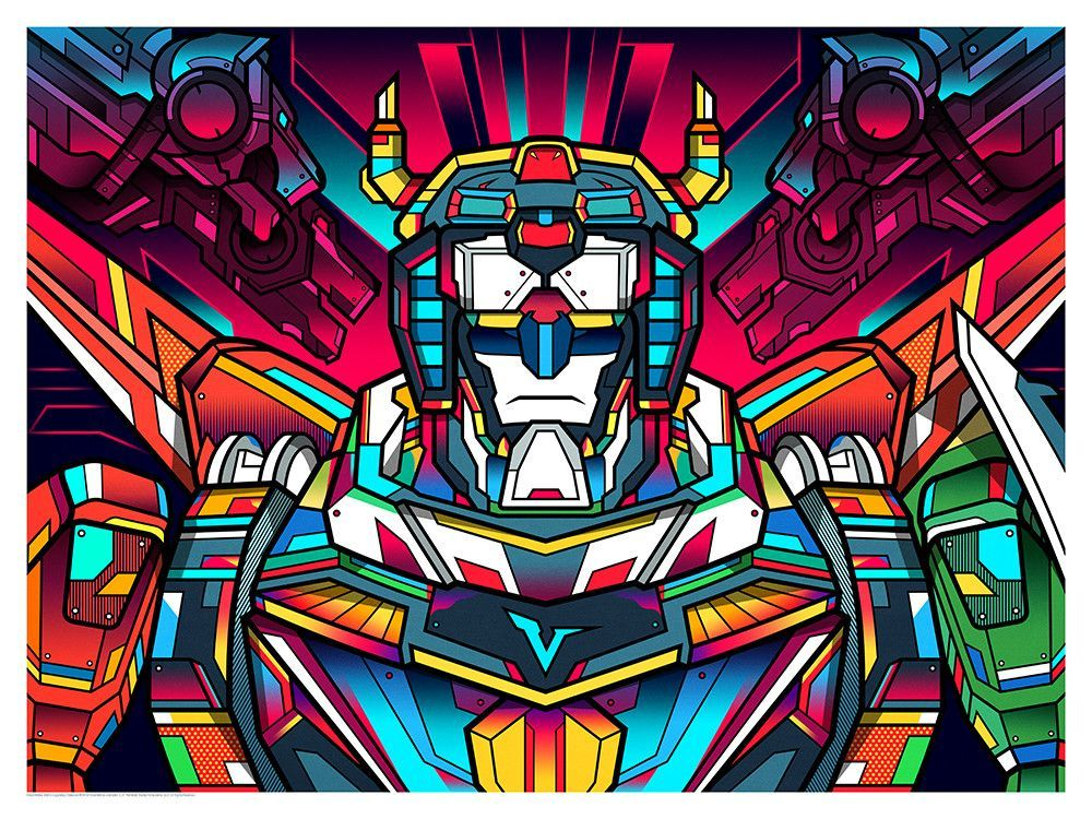 022796d505a Inspired by Voltron  Legendary Defender - Fine Art Giclee Print on Silver  Metallic Paper - Variant Edition of 50 - Approximately 24