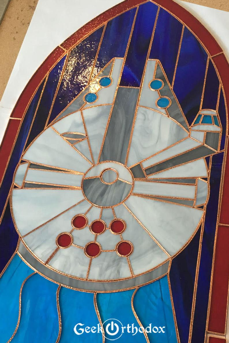 Millennium Falcon Original Stained Glass Panel Etsy In 2020 Stained Glass Panel Stained Glass Stained Glass Window Clings