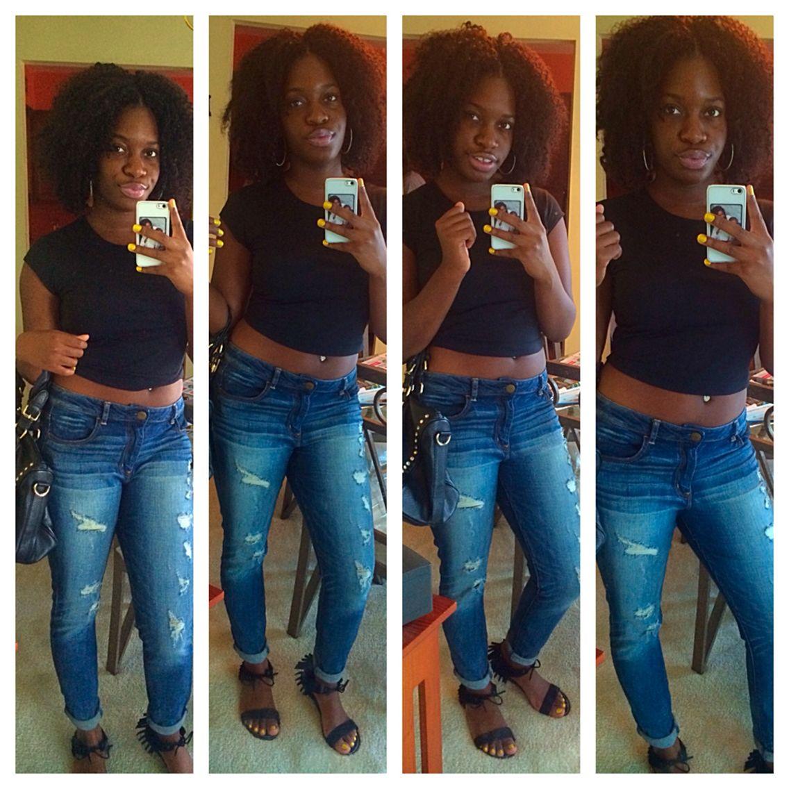 Boyfriend Jeans Black Crop Top Ripped Jeans Black Outfit Curly Hair Natural Hair Dark Skin Girls Capri Pants Outfits Pants