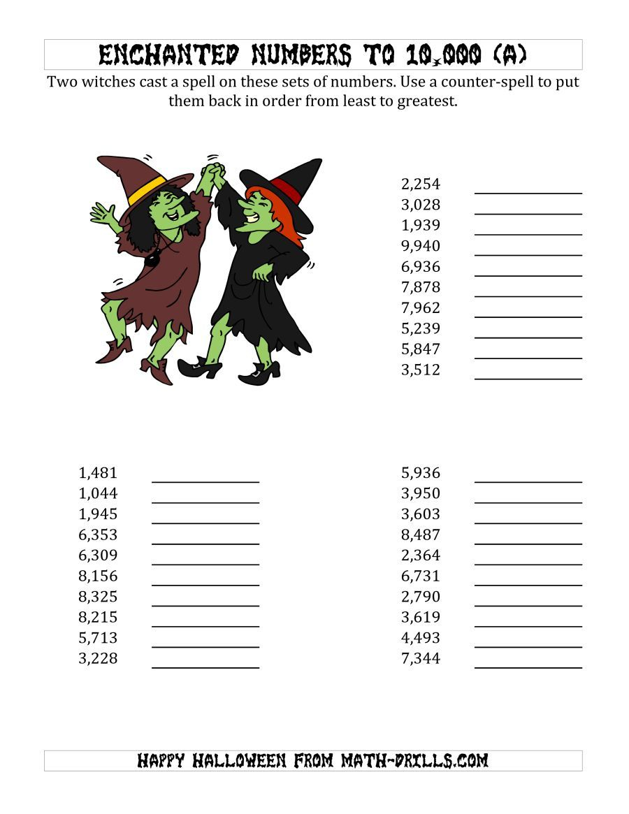 The Ordering Halloween Witches Enchanted Numbers To 10 000 A Math Worksheet From The Halloween Math Wo Halloween Math Worksheets Halloween Math Holiday Math