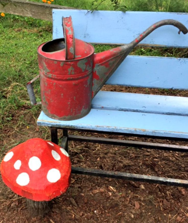 Garden Bench Maker with watering can and mushroom www.Gardenchick.com