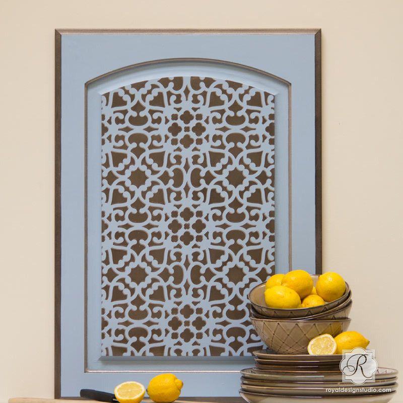Diy Modern Kitchen Cabinet Doors modern moroccan lace furniture stencil | modern moroccan