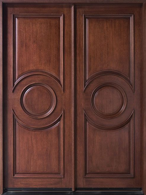 Contemporary series mahogany solid wood front entry door for Simple wooden front door designs