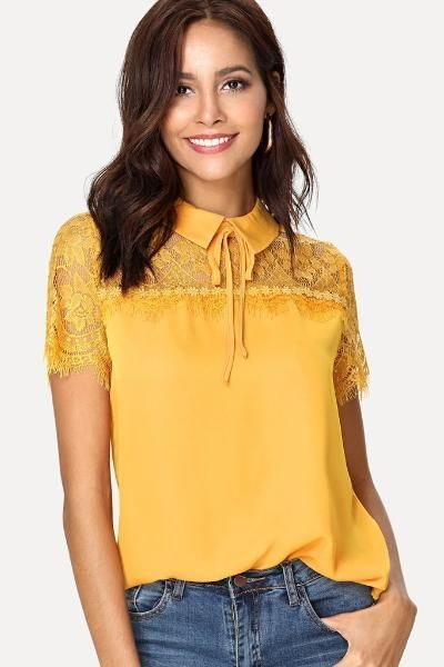 018db8a47d5 Tie Neck Lace Yoke Yellow Top in 2019 | Clothes | Tops, Blouse neck ...