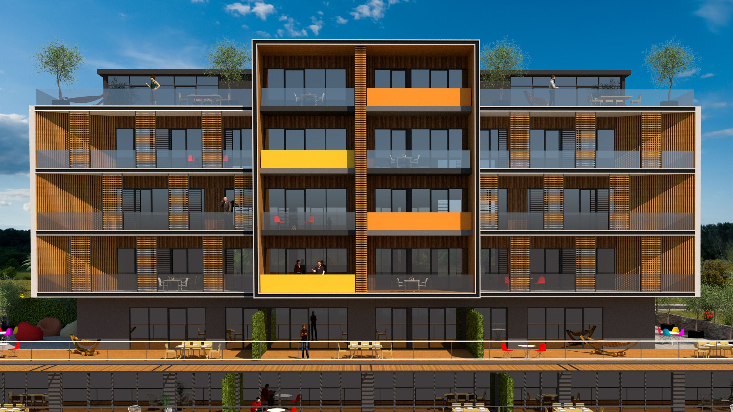 New Facade Designed As A New Proposal For Same Building Building Has G 3 Floors Apartments All Facades Are Emphasized With Diffrent Vertical Voids Vertical Vo